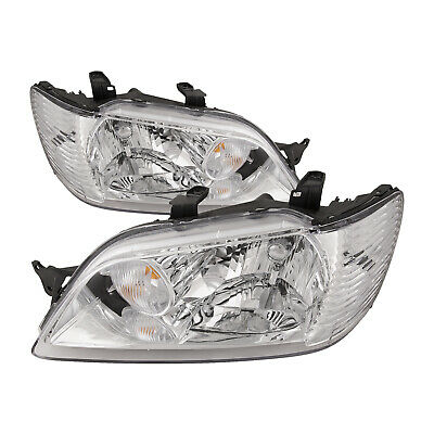 $129.62 • Buy For 2002-2003 Mitsubishi Lancer Headlights Pair Left Right Set Halogen Chrome