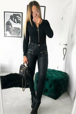 Leather Look Coated Leather Skinny Jeans • 22£