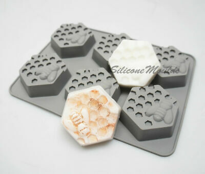 6 Cell HEXAGON Honey Bee Silicone Baking Mould Wax Beeswax Candle Cake Mold 65ml • 5.99£