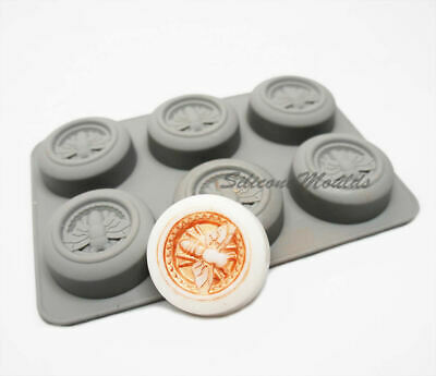 6 Cell ROUND Honey Bee Silicone Baking Mould Wax Beeswax Candle Cake Mold 42ml • 5.99£
