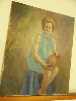 $ CDN163.88 • Buy Esther Prabel Price (1904-?) Old Painting Oil On Canvas Portrait Woman W/ Vase