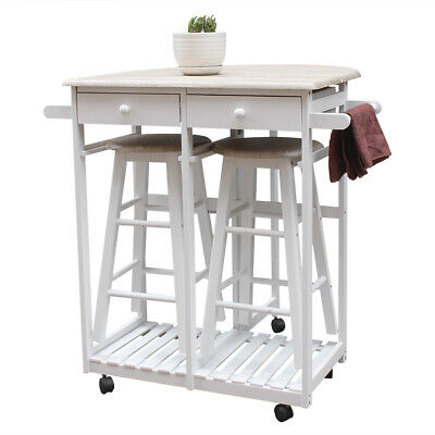 $114.56 • Buy Small Kitchen Dining Table And Chairs Set Folding Island 2 Stools Trolley Wheels