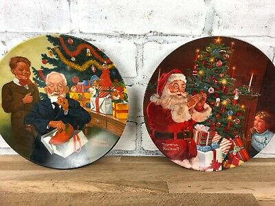 $ CDN18.33 • Buy Vintage Norman Rockwell Christmas Decorative Plates Santa's Secret Grandpop & Me