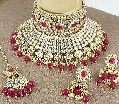 Indian Bollywood Bridal Gold Kundan Pearl Red Necklace Earrings Tika Jewelry Set • 29.99$