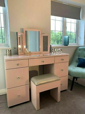 £154.99 • Buy Mirrored Furniture Glass Pink Dressing Table Bedroom Console Bevelled Venetian