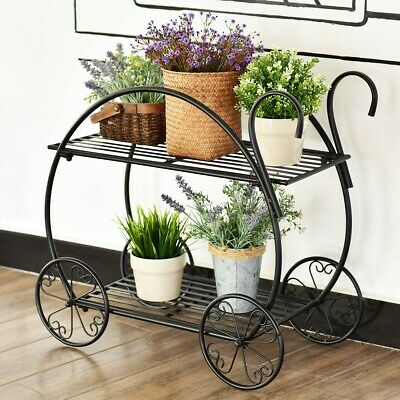 Heavy Duty Metal Steel Flower Cart Potted Circular Frame W/Handles Plant Stand • 54.99$