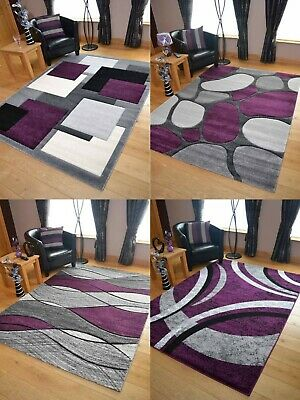 Modern Grey Purple Rugs Mat Large Small Living Area Soft Thick Hallway Runners • 49.95£