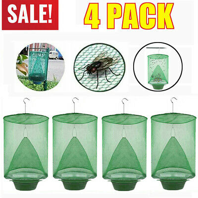 AU15.98 • Buy 4x Ranch Fly Trap Insect Killer Net Cage Trap Outdoor Bug Pest Hanging Catcher