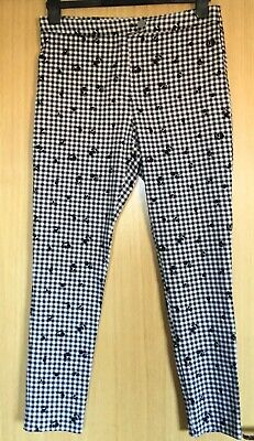F&F Ladies Trousers 12 Capri Gingham Rockabilly Casual Cropped Tapered 50's   • 12.99£