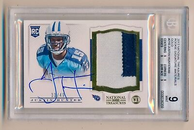 $19.99 • Buy 2013 National Treasures Gold Auto Justin Hunter Rookie BGS Mint 9 Steelers /49