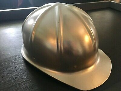 Vintage Aluminum Metal Construction Hard Hat Bucket Helmet • 35.20$