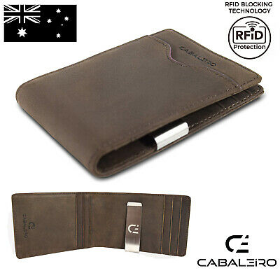 AU29.95 • Buy Cabaleiro Mens Brown Leather Bifold Credit Card Wallet, Money Clip RFID Blocking