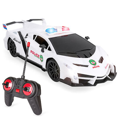$14.99 • Buy BCP Remote Control Police Sports Car Toy W/ Headlights, Police Lights - White