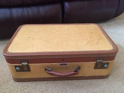 View Details Vintage Suitcase American Tourister Brown Beige Tan Hard Case Luggage 21x13x7 • 59.99$