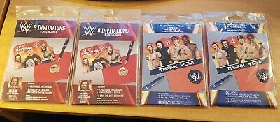 Amscan WWE 16 Invitations 16 Thank You Cards, Party Favor, New, Free Shipping • 17.01£