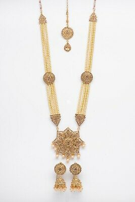 Indian Bollywood Jewellery Set Gold & Pearl With Matching Tikka And Earrings • 11.99£