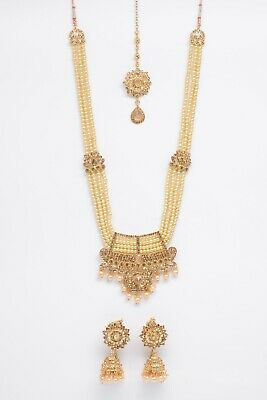 £13.99 • Buy Indian Bollywood Jewellery Set Gold & Pearl With Matching Tikka And Earrings