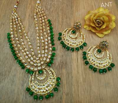 $24.99 • Buy Indian Ethnic Bollywood Bridal Kundan Pearl Green Necklace Earring Set Jewelry