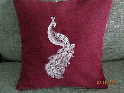 16  Wine Machine Embroidered 'peacock' Cushion Cover - New - • 11.99£