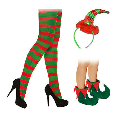 Ladies Christmas Red Green Elf Tights Sequin Headband Shoes Xmas Fancy Dress • 8.49£