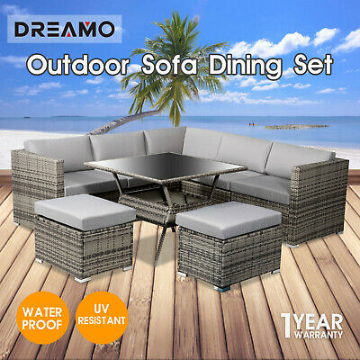 AU882.28 • Buy 8 Seater Outdoor Dining Furniture Set Wicker Table Chairs Garden