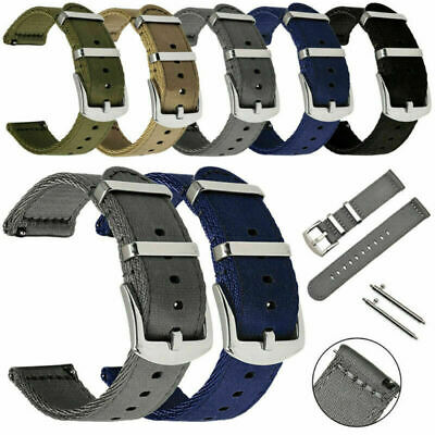 18mm 20 22mm 24mm Quick Release Nylon Canvas Metal Buckle Watch Band Wrist Strap • 5.94£