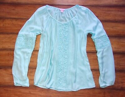 $19.99 • Buy LILLY PULITZER ~ Small ~ Dreamy Aqua Blue! Boho CROCHET Viscose Pullover Blouse