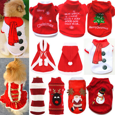 £2.37 • Buy Pet Cat Santa Costume Dog Christmas Small Red Coat Outfit Clothes Hoodie Jumper