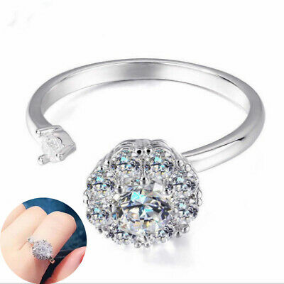 Ring Open Rotating Spinning Adjustable Women's Anti-Anxiety Crystal • 2.31£