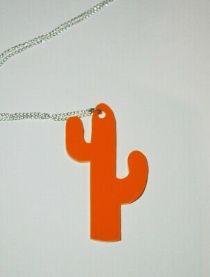NEW Cactus Acrylic Laser Cut Necklace HANDMADE • 10.50£