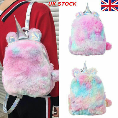 AU17.44 • Buy Women Girls Fluffy Unicorn Backpack Plush School Rucksack Zipper Bag Luxury New
