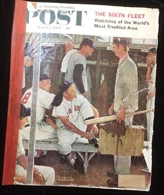 $ CDN15 • Buy Vintage Saturday Evening Post Norman Rockwell , March 2, 1957 Red Sox Baseball