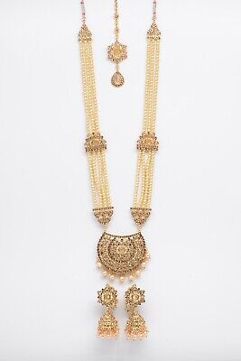 £14.99 • Buy Indian Bollywood Jewellery Set Gold & Pearl With Matching Tikka And Earrings