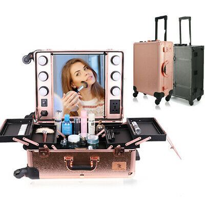$151.92 • Buy Makeup Train Case Professional Cosmetic Travel Rolling Vanity Organizer Trolley