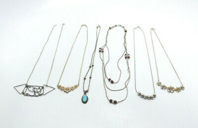$ CDN77.65 • Buy LOT Of 6 Sterling Silver Necklaces, Opal, Plumeria, 39.3g