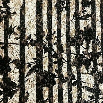 Black With White Lace Pretty Floral Pattern Dress Fabric Material 56  Wide A1002 • 6.99£