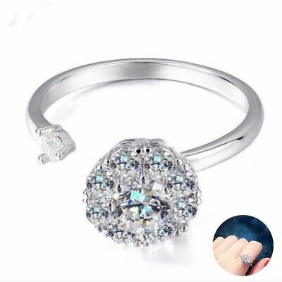 Open Ring Women's Spinning Rotating Crystal Anti-Anxiety Adjustable • 1.95£