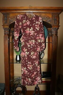 Zimmermann Women's Floral Long Sleeve Maxi Dress Silk Burgundy Pink Size 2 NWT • 199.99$