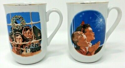 $ CDN18.99 • Buy Norman Rockwell 1983 Christmas Prayers Children 2 Coffee Mugs Museum Collection
