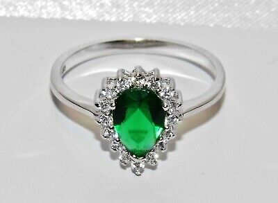 STERLING SILVER (925) EMERALD PEAR CUT LADIES RING Size M • 14.95£