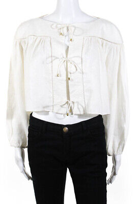 Zimmermann Womens Long Sleeve Boat Neck Cropped Blouse Ivory Linen Size 2 • 49.99$