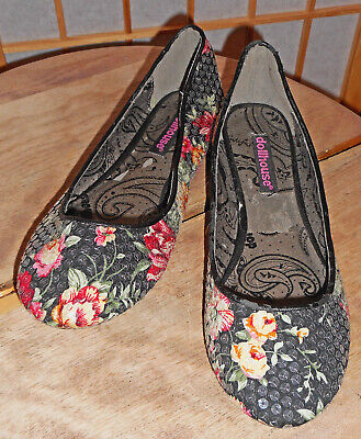 New DOLLHOUSE Black, Pink Roses & Sequins. Ballet Flat Shoes! 6.5 • 12.50$