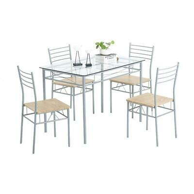 $139.99 • Buy 5 Piece Dining Table Set Silver Glass And 4 Chairs Kitchen Furniture Home Iron