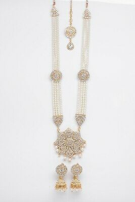 £14.99 • Buy Indian Bollywood Jewellery Set Pearl Gold With Matching Tikka And Earrings