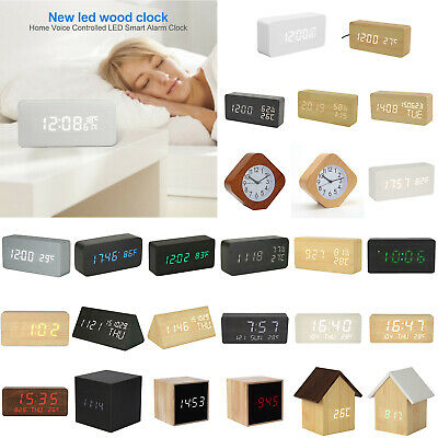 Wooden LED Digital Alarm Table Clock Voice Control Calendar Thermometer USB/AAA  • 5.46£