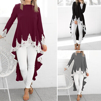 Women Long Sleeve Irregular Shirt Casual Loose Blouse High Low Dip Hem Top Dress • 10.71£