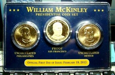 $18.99 • Buy William McKinley - Presidential 3 Coin Set - First Day Of Issue 2-19-2013