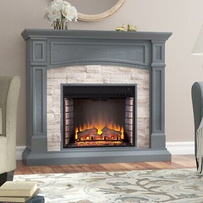 Electric Fireplace Heater Infrared Space Firebox Blower Adjustable Thermostat Re • 986.61$