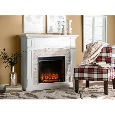 Electric Fireplace Infrared Heater Space Firebox Blower Adjustable Thermostat Re • 749.40$