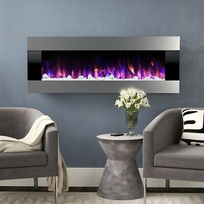 Wall Mounted Electric Heater Fireplace Infrared Space Firebox Blower Adjustable  • 729.99$